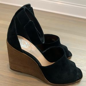 Vince Canute Wedge peep toe suede sandals